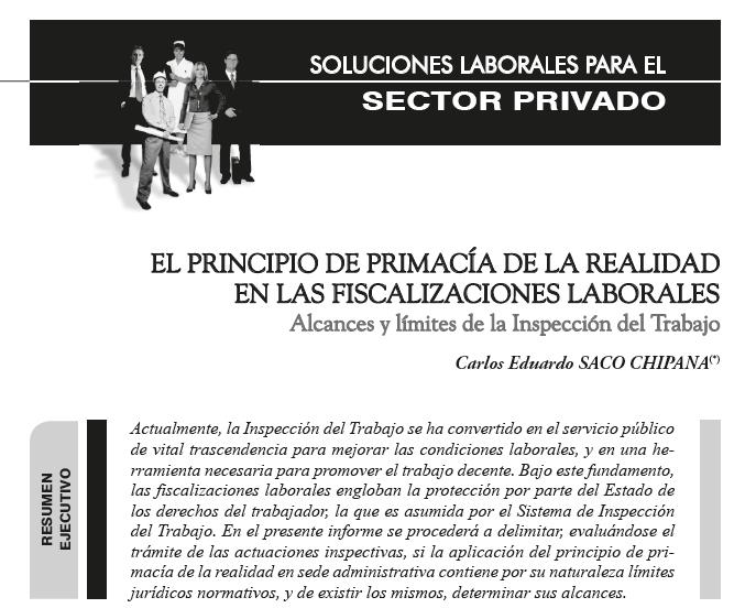 El principio de primacía de la realidad en en las fiscalizaciones laborales