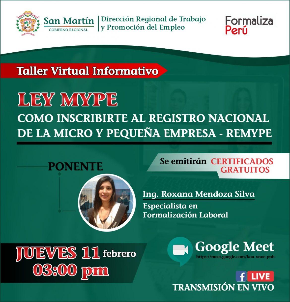 """Flayer del taller Online que está Organizando el Centro Integrado """"Formalizar Perú"""" el día jueves 11/02 a las 3:00pm a travez de la plataforma Google Meet y Fcebook Live"""