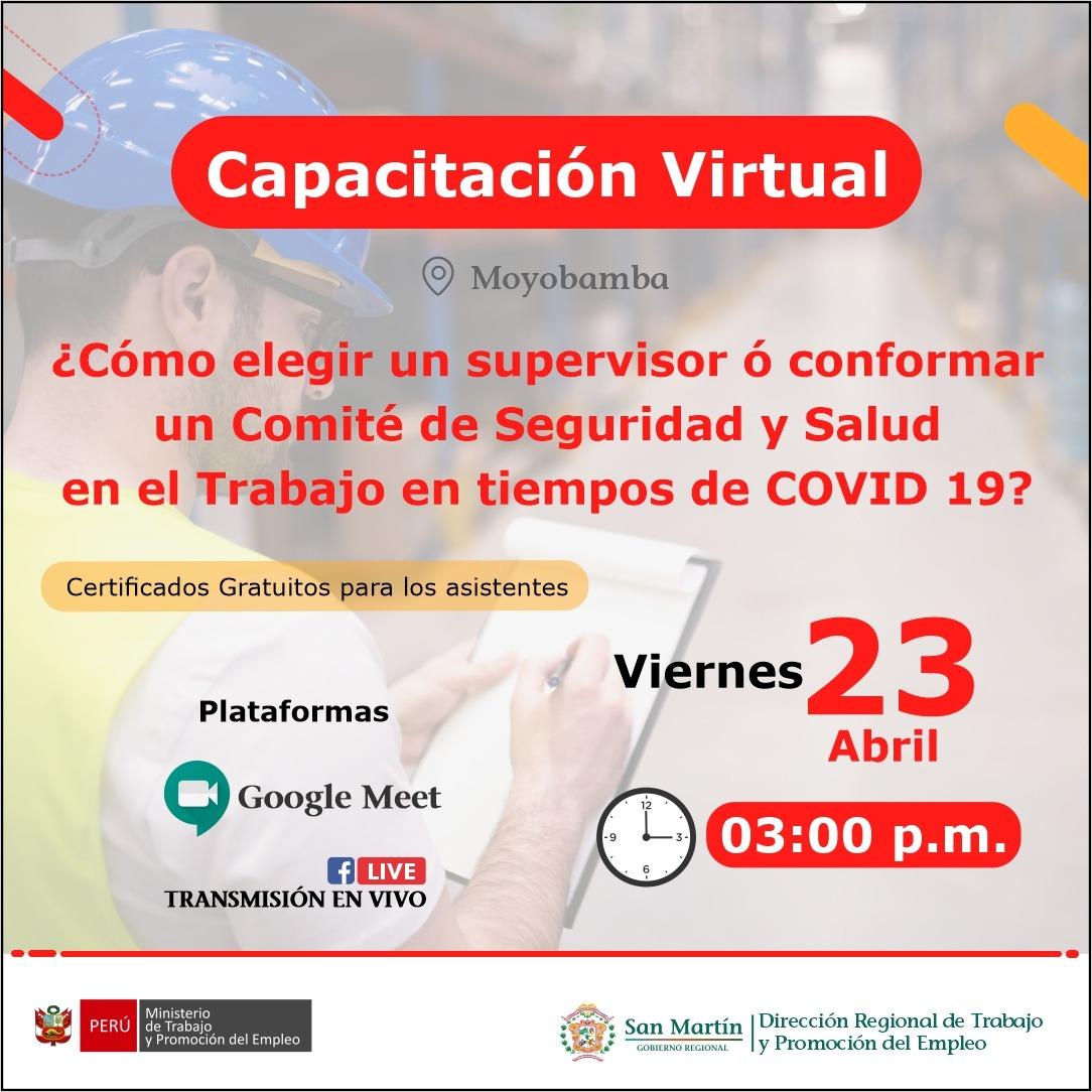 Capacitación Virtual: ¿Cómo elegir un supervisor ó conformar un Comité de Seguridad y Salud en el Trabajo en tiempos de COVID 19?
